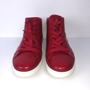 Prada Leather Mid-top Sneakers, Red